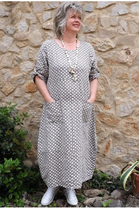 Robe longue lin Diane taupe