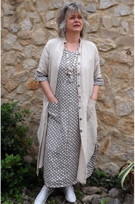 Veste longue en lin Aloïs beige et robe lin Diane