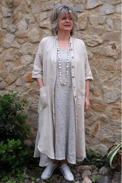 Veste longue en lin Aloïs beige