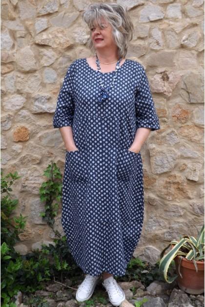 Robe longue lin Diane marine