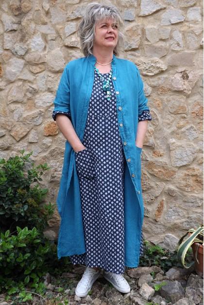 Veste longue en lin Aloïs bleu canard