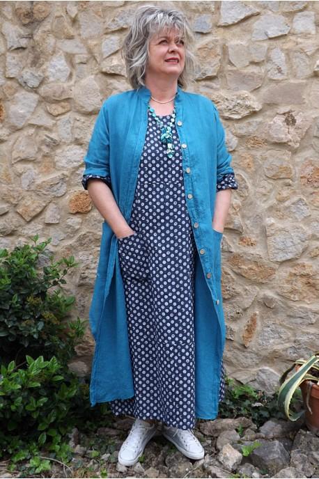 Veste longue en lin Aloïs bleu canard et robe lin Diane