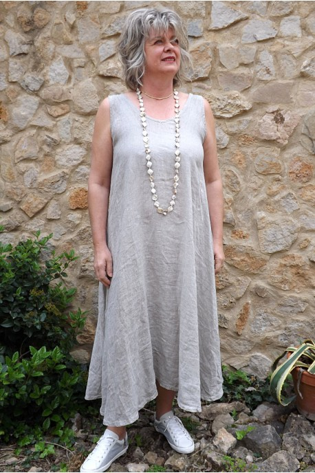 Robe lin taupe délavé Isis.