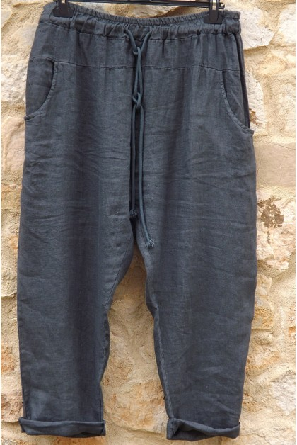 Pantalon lin anthracite Gabriel
