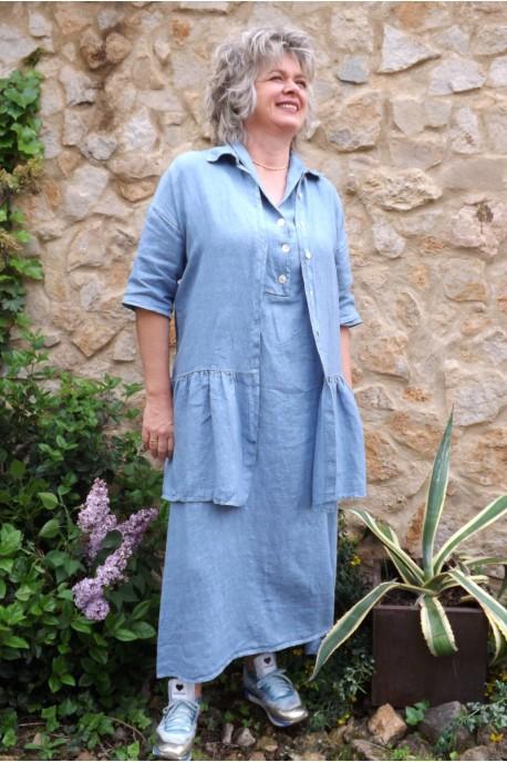Veste en lin Garance Bleue et robe lin Bérangère