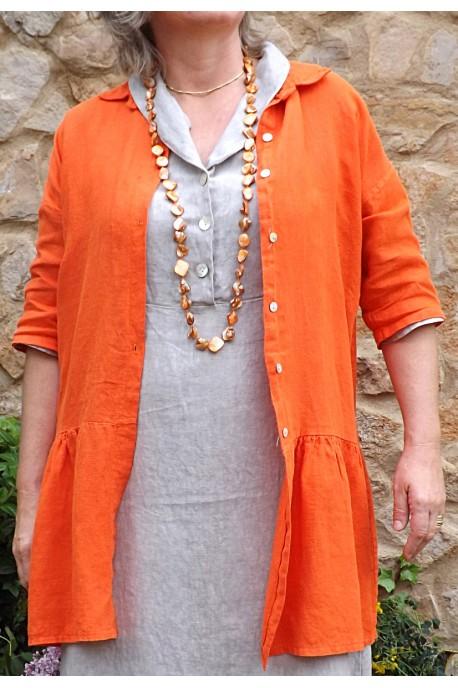 Veste en lin Garance orange et robe en lin Bérangère