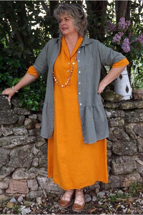 Veste en lin Garance kaki et robe lin Bérangère