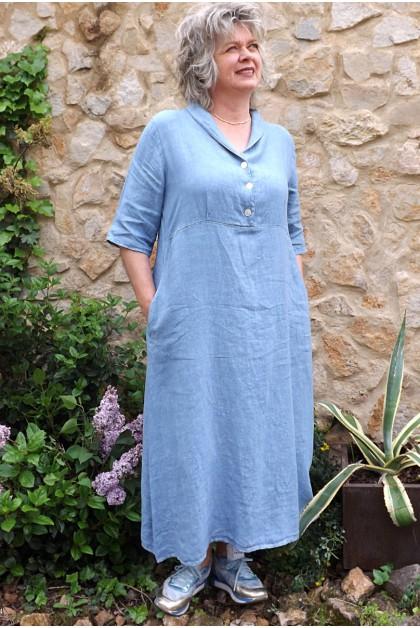 Robe longue lin bleu Bérangère