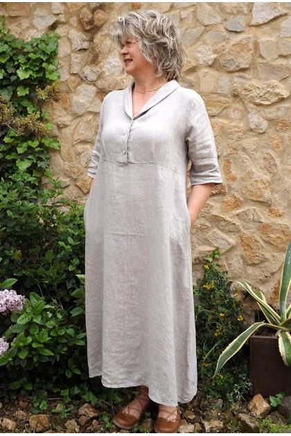 Robe longue lin taupe Bérangère