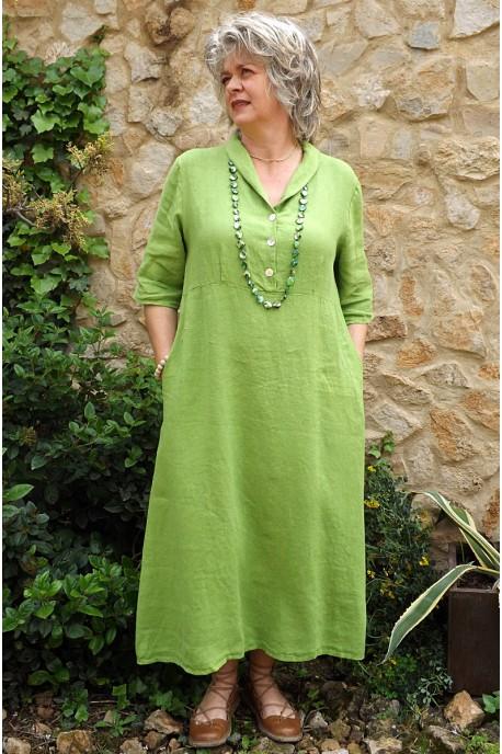 Robe longue lin vert lumière Bérangère