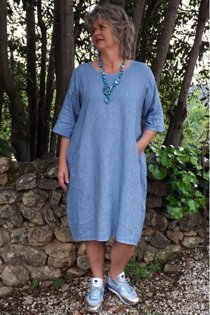 Robe lin bleu Eva