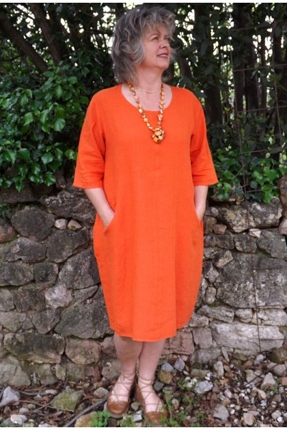 Robe lin orange Eva
