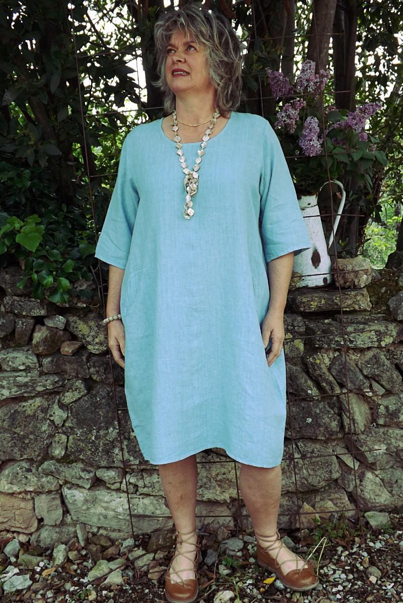 Robe En Lin Grande Taille Bleu Vert Lagon