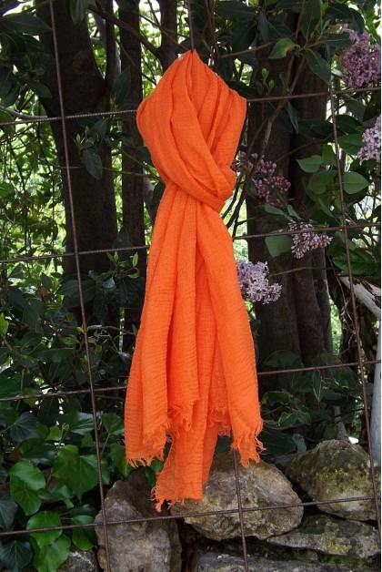 Foulard voile de coton orange