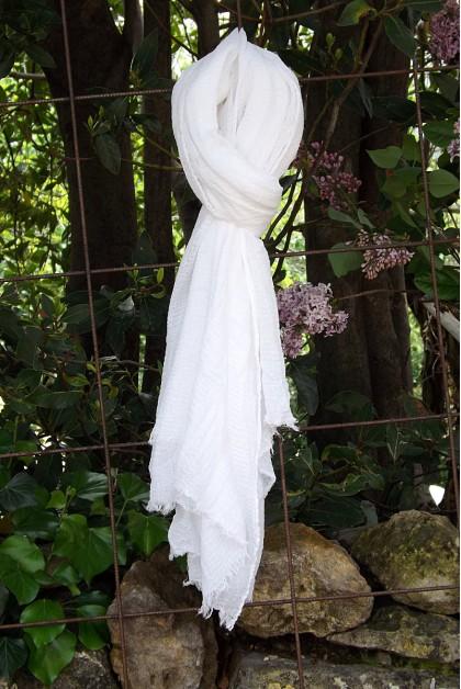 Foulard voile de coton blanc