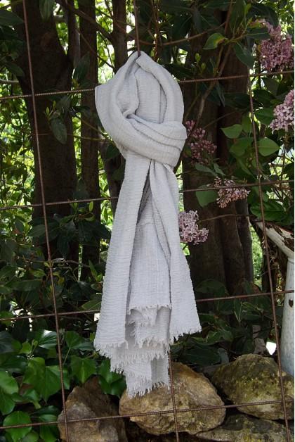 Foulard voile de coton gris