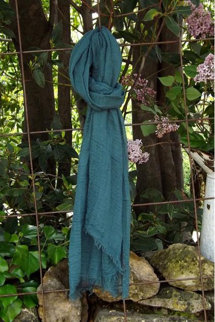 Foulard voile de coton bleu canard