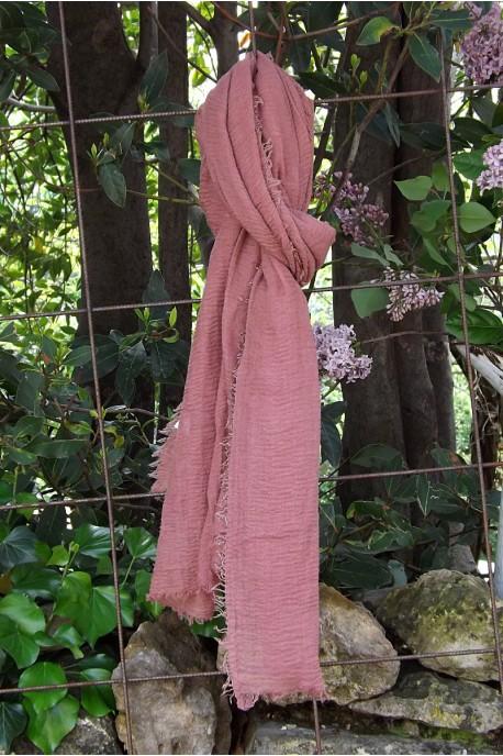 Foulard voile de coton vieux rose