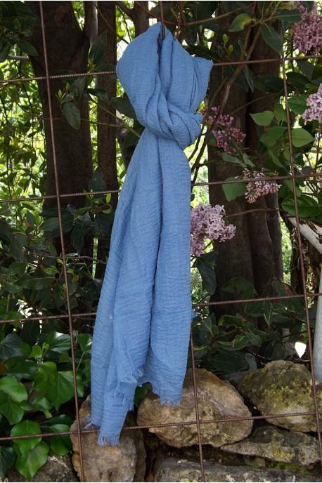 Foulard voile de coton bleu