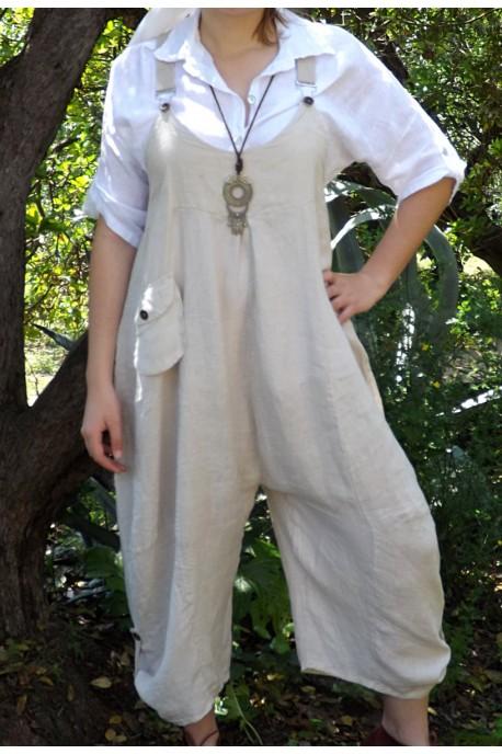 Salopette lin Amandine beige et chemise lin Albane