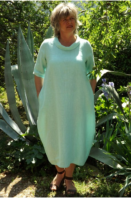 Robe longue en lin vert d'eau Apolline