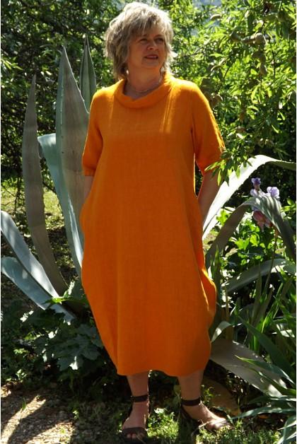 Robe longue en lin clémentine Apolline