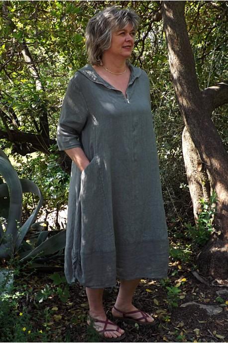 Robe lin kaki Camille