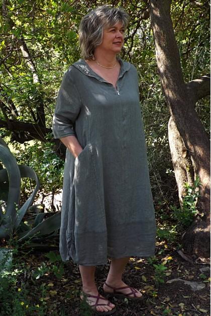 Robe lin originale kaki Camille