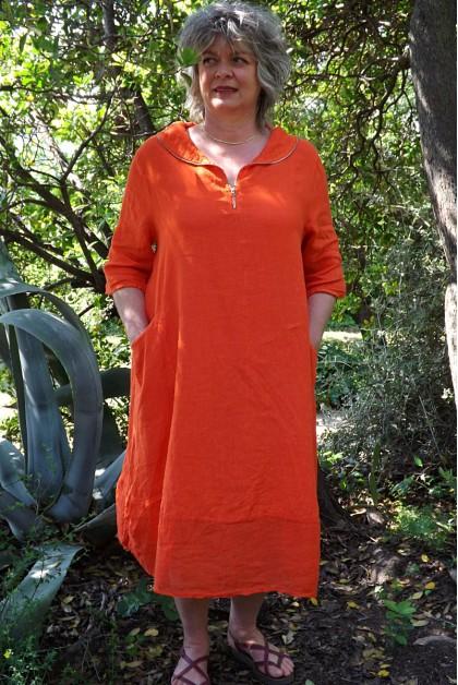Robe lin originale orange Camille