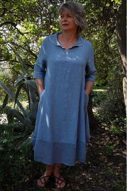 Robe lin originale bleue Camille