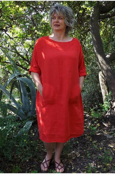 Robe lin rouge Mariane
