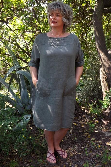 Robe lin kaki Mariane