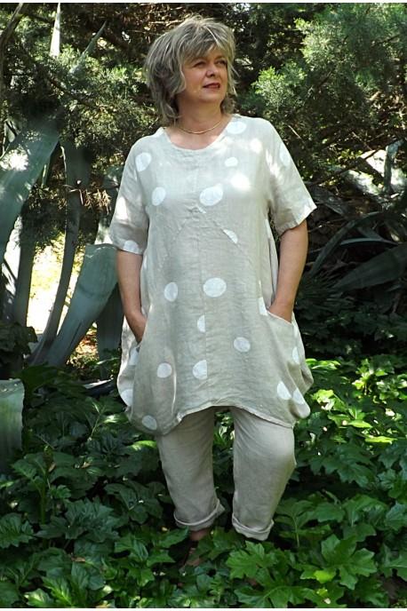 Tunique lin forme boule beige Josette et pantalon lin Gabriel