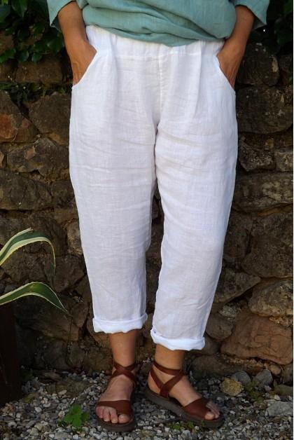 Pantalon lin blanc Gabriel