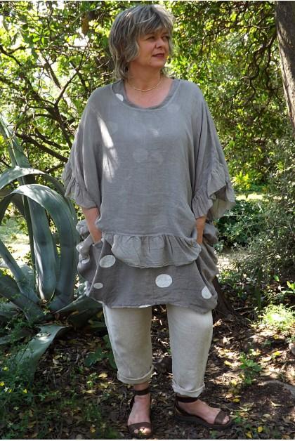 Tunique maille de lin grande taille taupe Lucine