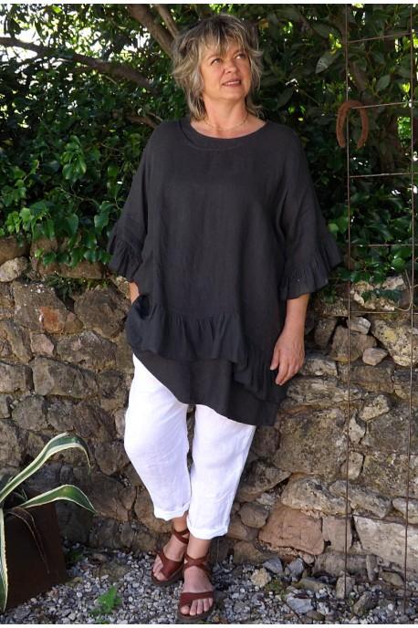Tunique maille de lin grande taille gris anthracite Lucine et pantalon Gabriel.