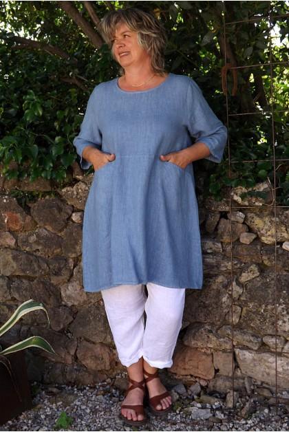 Tunique lin bleue Emma