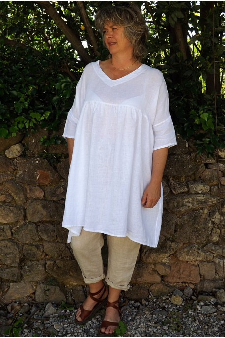 Tunique lin grande taille blanche Marinette et pantalon Gabriel
