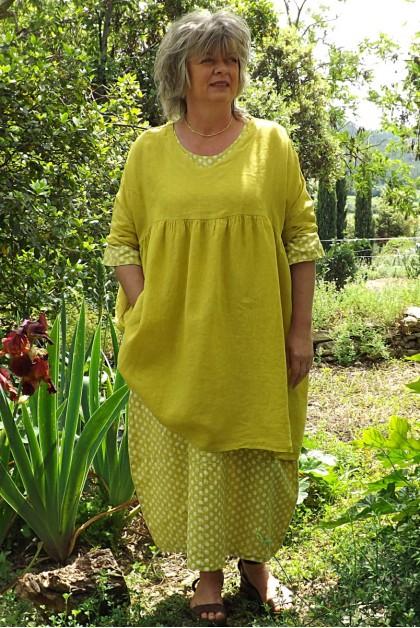 Tunique lin grande taille jaune génépi Marinette