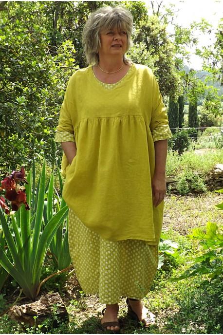 Tunique lin grande taille jaune génépi Marinette et robe lin Diane