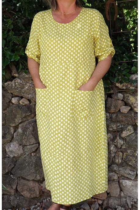 Robe longue lin Diane jaune génépi
