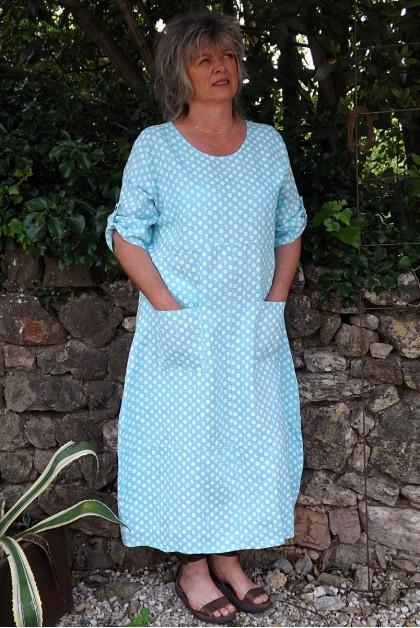 Robe longue lin Diane bleue maldive