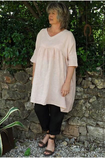 Tunique lin grande taille rose poudré Marinette