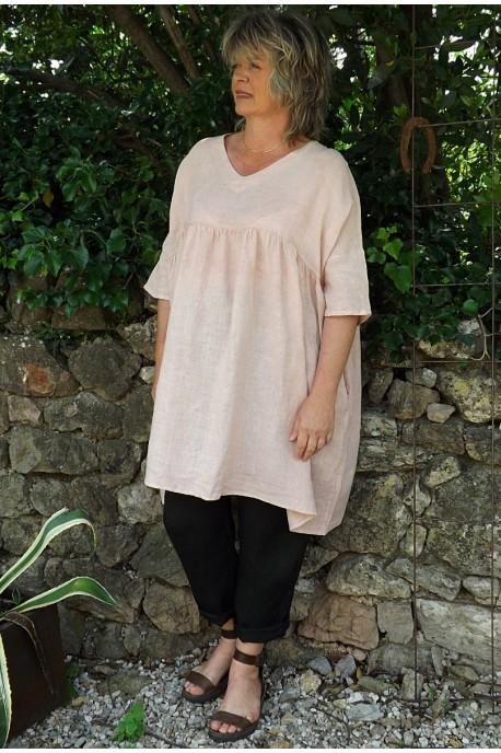 Tunique lin grande taille rose poudré Marinette et pantalon Gabriel