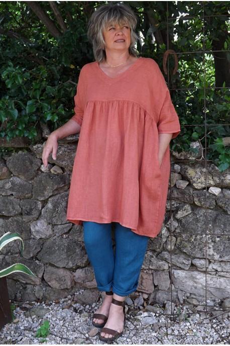 Tunique lin grande taille brique Marinette et pantalon Gabriel
