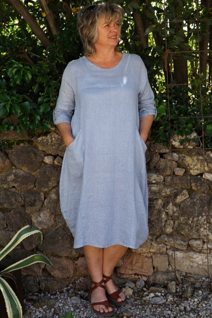 Robe lin Celestine bleue ciel délavé