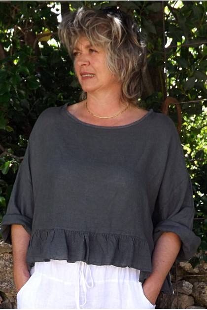 Top lin gris anthracite Celestin et pantalon lin Gabriel