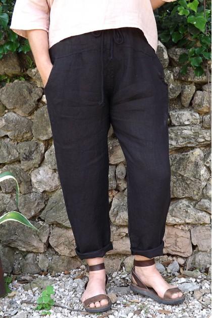 Pantalon lin noir Gabriel