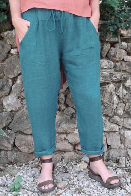 Pantalon lin bleu canard Gabriel