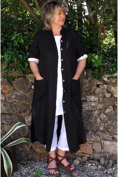 Veste longue en lin Aloïs noire, tunique lin Emma et pantalon lin Gabriel